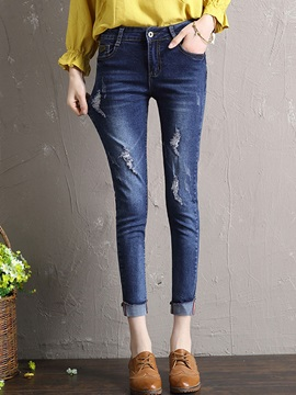 Plain Spandex Worn Hole Patchwork Pencil Jeans