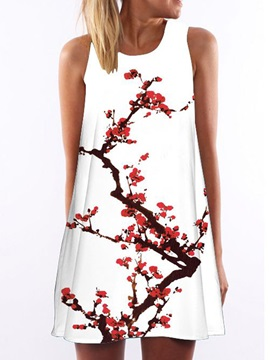 A Line Short Print Womens Dress