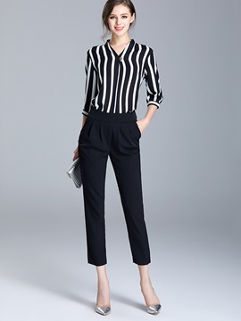 V Neck Stripe Shirt Ankle Length Harem Pants 2 Piece Sets