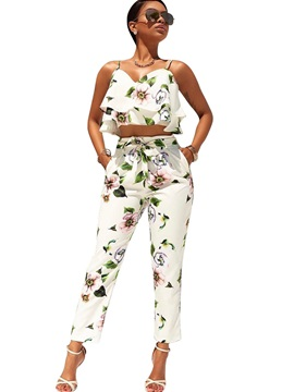 Floral Falbala Pleated Sleeveless T Shirt Pencil Pants 2 Piece Sets