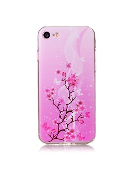 Iphone 7 7 Plus Case Painted Pink Flowers Tpu Ultra Thin Cover Case