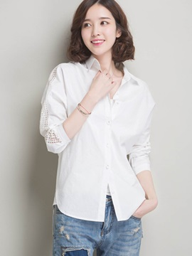 White Lapel Hollow Shirt