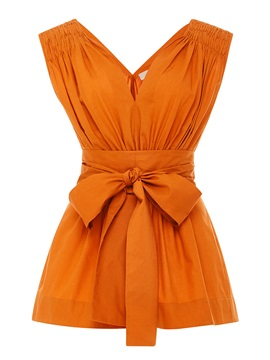 V Neck Pleated Bowknot Sleeveless Blouse
