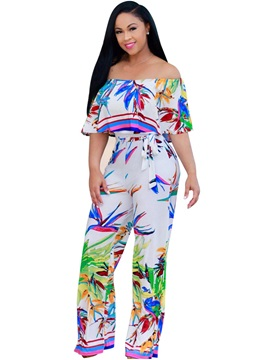 Loose Plant Print Straight Jumpsuits