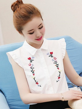 Lapel Embroidery Sleeveless Blouse