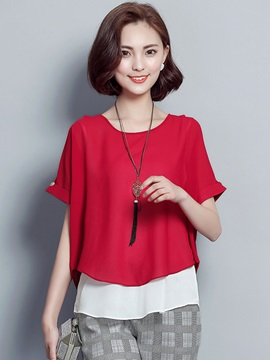 Chiffon Color Block Double Layer Blouse