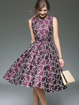 Chic Floral Imprint Sleeveless Skater Dress