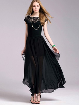 Black Short Sleeve Chiffon Dress