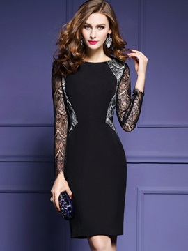 Elegant Black Long Sleeve Bodycon Dress