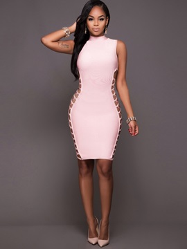 Pink Sleeveless Slim Bodycon Dress