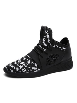 Spandex Patchwork Lace Up Mens Sneakers