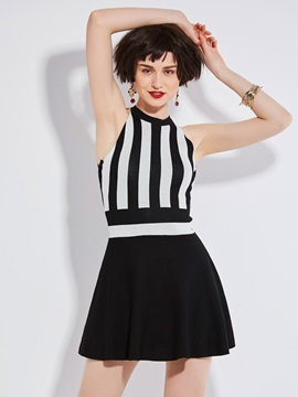 Vertical Stripes Sleeveless Skater Dress