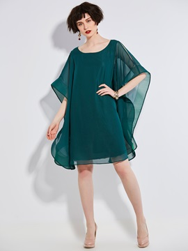 Bat Sleeve Round Neck Short Sleeve Short Day Dress
