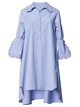 Blue Long Sleeve Womens Short Day Dress