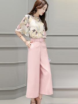 Chiffon Shirt Wide Legs Pants With Belt 2 Piece Sets