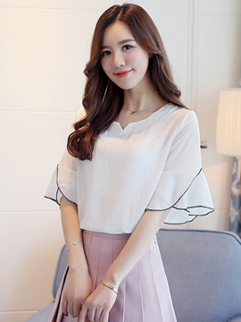 Simple Chiffon Ruffle Sleeve Blouse