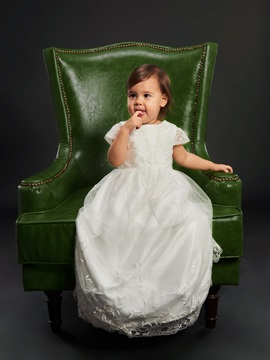 Pretty Lace Cap Sleeves Baby Girls Christening Dress