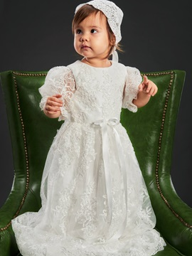 Long Lace Christening Gown For Girls Baptism