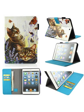 Cats Pattern Stand Case With Cash Card Slots For 97 Inch Ipad Tablet