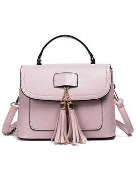 Concise Tassel Pu Crossbody Bag