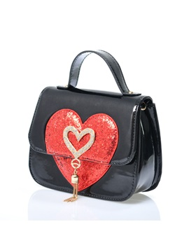 Heart Rhinestone Design Crossbody Bag