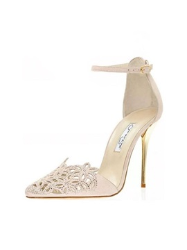 Hollow Rhinestone Line Style Buckle Pumps