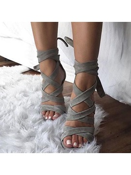 Open Toe Lace Up Heel Sandals