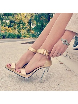 Line Style Buckle Transparent Chunky Heel Sandals