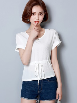Round Neck Plain Slim Blouse