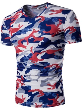 Camouflage Printed V Neck Simple Mens T Shirt