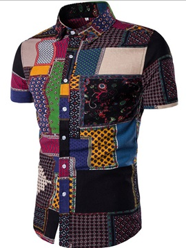 Ethnic Stylish Patchwork Slim Fit Mens Shirt