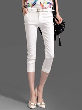 Plain Straight Mid Calf Casual Pants