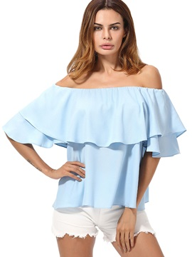 Plain Chiffon Slash Neck Falbala Blouse