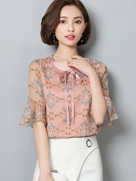 Chiffon Floral Lace Up Flare Sleeve Blouse