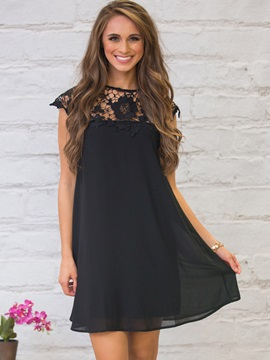 Cap Sleeves Lace Patchwork Womens Dress
