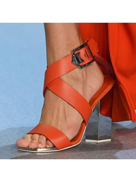 Open Toe Buckle Chunky Heel Sandals