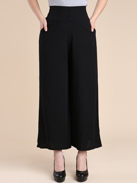 Plain Pleated Wide Legs Casual Pants