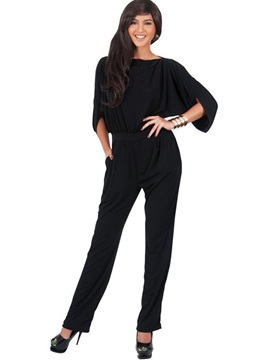 Plain Asymmetric Hollow Straight Jumpsuits