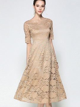 Khaki Short Sleeve Womens Lace Dress
