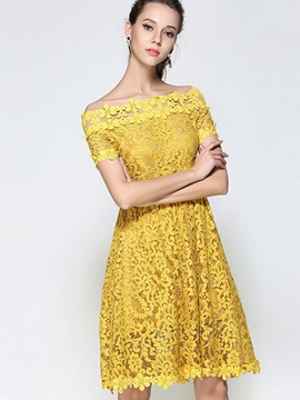 Yellow Boat Neck Short Sleeve Lace Dress