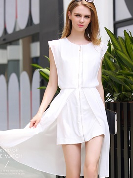Solid Color Sleeveless Chiffon Short Day Dress