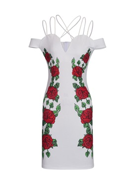 Floral Imprint Spaghetti Strap Bodycon Dress