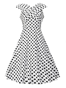 Chic Polka Dots Short Sleeve Skater Dress