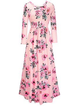 Round Neck Long Sleeve Floral Imprint Maxi Dress