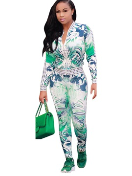 Print V Neck Jacket Pencil Pants 2 Piece Sets