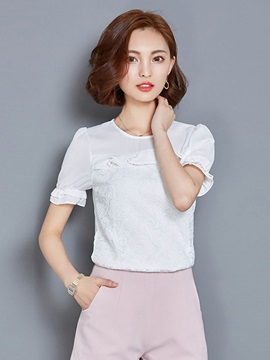Round Neck Lace Petal Sleeve Blouse