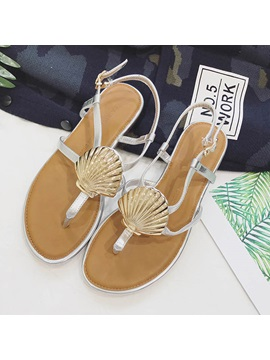Pu Buckle Thong Womens Flat Sandals