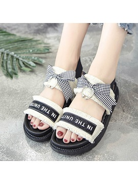 Cloth Slip On Worn Bowtie Womens Sandals