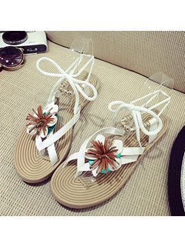 Pu Lace Up Appliques Thong Womens Sandals