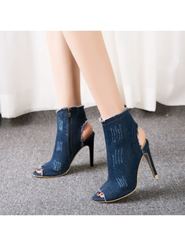 Denim Zipper Hollow Worn Stiletto Womens Sandals